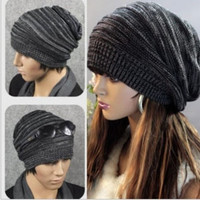 NEW Unisex Womens Mens Knit Baggy Beanie Beret Hat Winter Warm Oversized Ski Cap = 1946715076
