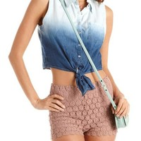 Ombre Tie-Front Chambray Top: Charlotte Russe