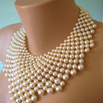 Pearl Statement Necklace, The Great Gatsby, Bridal Bib, Art Deco, Vintage Bridal Jewelry, Pearl Choker, Wedding Necklace, Cream Pearls, 1920