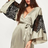 Missguided - Green Silky Kimono Lace Insert Shift Dress
