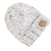 Knit Gray Bulky Button Hat - Christmas Gift for Teens - Chunky Wool Winter Beanie -