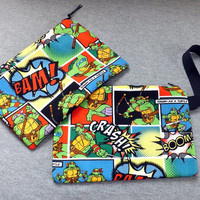 TMNT Comic Clutch Handbag Wristlet Zipper Pouch Ninja Turtle
