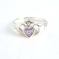 Claddagh Sterling Silver Light Lavender Crystal Ring, Size 6
