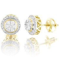 Round Halo Cluster 0.4Ct Genuine Diamonds 10k Yellow Gold Earrings