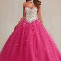 [144.99] Graceful Tulle Sweetheart Neckline Ball Gown Quinceanera Dresses With Beadings & Rhinestones - Dressilyme.com