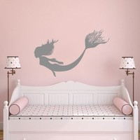 Wall Decals Mermaid Nymph Girl Tail Sea Animal Hair Beauty Water Nature Fish Gir...