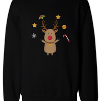 Cute Rudolph Sweatshirts Winter Pullover Fleece Holiday Gift X-mas Sweaters