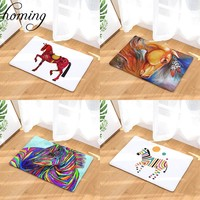 Homing Flannel Soft Decoration Stair Floor Mats Rainbow Color Horse Pringting Rugs Light Thin Waterproof Bathroom Carpets Decor