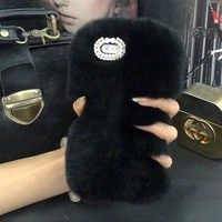 STYLEDOME Warm Soft Fluffy Rabbit Fur Back Cover Skin Cases For iPhone6 Plus iPhone6S Plus