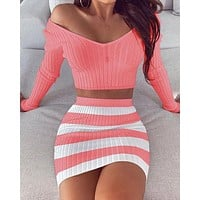 Two piece suit crop top and skirt suit long sleeve dark V neck ligh blue bottom stripe blue