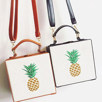 Pineapple embroidery Women Shopping Leather Crossbody Satchel Shoulder Bag