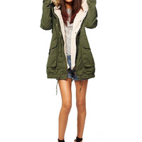 Parka Coat with Faux Fur Hood