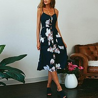 Navy Flower Long Buttoned Sundress