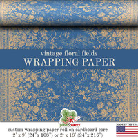 Vintage Floral Fields Wrapping Paper | Grungy  Blue Kraft Color Floral Fields Gift Wrap Paper Roll In 9 feet or 18 feet. Everyday Gift Wrap.