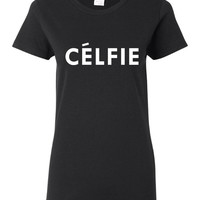 CELFIE Printed Ladies Unisex T Shirt Great Photo Oppotunity Graphic T Shirt Selfie Celfie Unisex Juniors Youth Sized T Shirt Shirts Tops