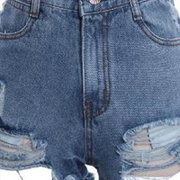 Hole burrs washed do old high-waisted denim shorts from Fanewant