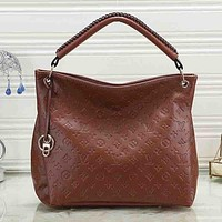 LV Louis Vuitton New Fashion Monogram Women Fashion Leather Shopping Leisure Handbag Tote Shoulder Bag Brown
