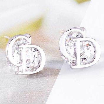 Dior CD New fashion diamond letter earring women Silver