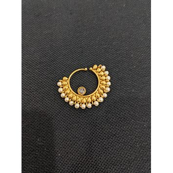 Pearl bead surrounded gold plated Indian Nose Ring