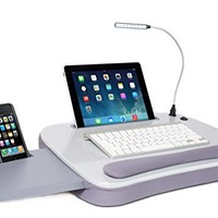 Sofia + Sam Multi Tasking Memory Foam Lap Desk with USB Light (Black Top) | Supports Laptops Up To 15 Inches