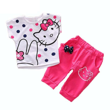 1 PCS new the new boys and girls kitty set wear short-sleeved summer clothing t shirt+ pants