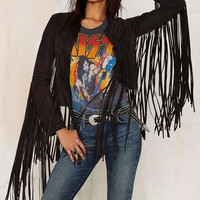 Faux Leather Tassel Patchwork Long Sleeve Open Front Jacket