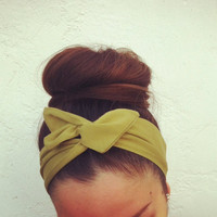 Olive Green Dolly Bow Headband