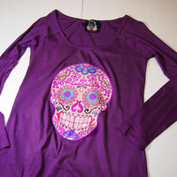 Long sleeve psychedelic Pink Sugar Skull shirt. Women S loose scoop neck tee Day of the Dead jumper. Purple Trendy Skull Print Small
