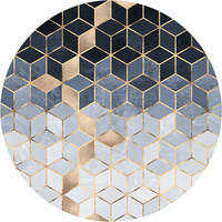 Soft Blue Gradient Cubes Circle Wall Decal