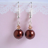 Maroon Pearl Swarovski Crystal Earrings