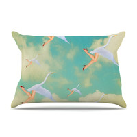 "Natt ""Swan"" Teal Yellow Pillow Case"