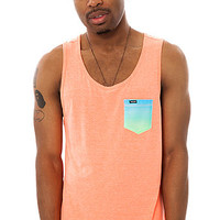 The Premium Pocket Knit Tank Top in Heather Neon Orange