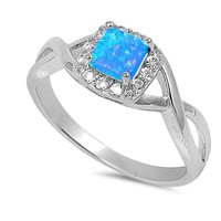 Sterling Silver Square Blue Opal and CZ Crossed Band Halo Ring