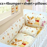 Promotion! 6PCS cotton Crib Baby Bedding Set For Cot and Crib bed linen Cradle (4bumper+sheet+pillow cover)