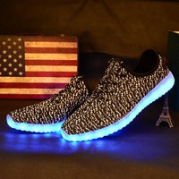 Children Shoes With Light Boys And Girls Casual LED Shoes For Kids 2019 Good Quality LED Light Up Usb 7 Colors Kids Shoes 25-37
