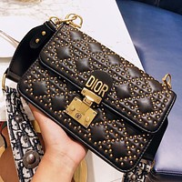 Dior New fashion rivets shoulder bag crossbody bag women Black