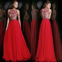 Sexy Red Chiffon prom party dress, long shiny bead formal evening dress pageant gown, boat neck celebrity dress Homecoming dress