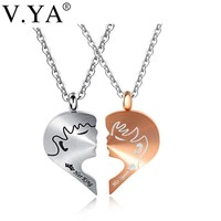 V.Ya Romantic Couple Necklaces Her King His Queen Crown Figure Personalized Stainless Steel Pendant Necklace Lover Jewelry Gifts