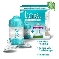 Bare Baby Bottle w/ Breastfeeding & Bottle-Feeding Nipples - Patented Air Free & Flow Control Technology - Perfect Baby Registry Favor Gift - 4 Oz Bottle Pack