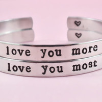 i love you more/i love you most - Hand Stamped Aluminum Cuff Bracelets Set, Valentine's Day Gift, Newsprint Font