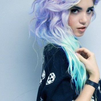 Ombre/Dip Dye/Tie Dye/Light Blonde Hair/Pastel Green/Lavender Fade