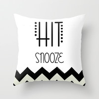 Hit Snooze Throw Pillow by Courtney Burns