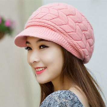 Winter Women hat Ladies Warm Knit Crochet Slouch Baggy Beanie Hat Cap for women bonnet  Y1