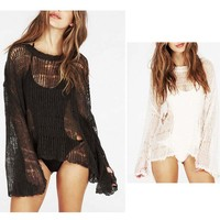 Womens Swimwear Crotchet Coverups Sun Block Hollow Out Bikini Swimsuit Beach Wear Cover Up