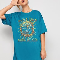 Letter And Sun Print Longline Tee