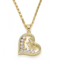 Gold Layered 04.195.0013.20 Pendant Necklace, Heart and Bow Design, with White Cubic Zirconia, Polished Finish, Golden Tone