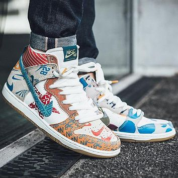 Nike SB What The Dunk High patchwork graffiti high-top sneakers shoes