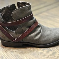 Blowfish Astra Bootie in Brown Rancher Canvas with Whiskey Dye Straps