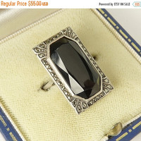 Art Deco Sterling Silver Black Onyx Marcasite Ring