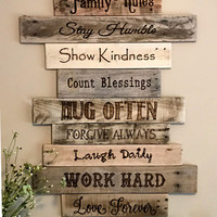Family Rules Sign/Wood Sign/Family Art/Rustic Wall Decor/Farmhouse Decor/Country Home Decor/Family/Inspirational Decor/Rustic/Reclaimed Wood